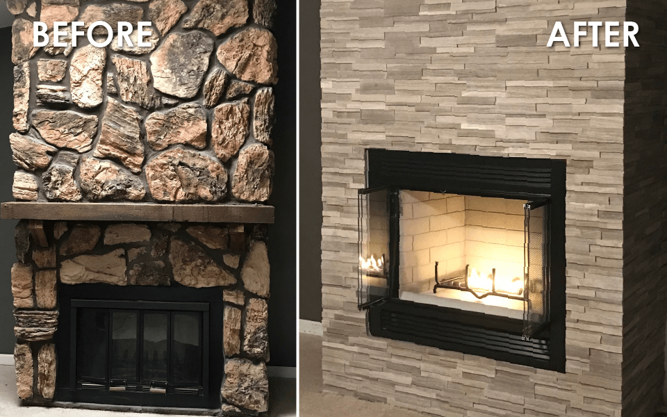 before and after lindemann fireplace